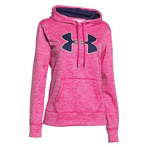 Under Armour Womens Armour Fleece Big Logo Twist Hoodie (Large, Rebel Pink (652))
