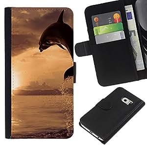 KLONGSHOP // Tirón de la caja Cartera de cuero con ranuras para tarjetas - Dolpin Wave - Samsung Galaxy S6 EDGE //