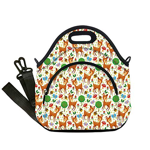 (Insulated Lunch Bag,Neoprene Lunch Tote Bags,Cartoon Animal,Baby Deer and Other Forest Elements Mushrooms Butterflies Flowers and Nuts Decorative,Multicolor,for Adults and children)