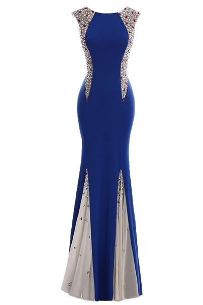 sunvary Sexy profundo Bañador de sirena Fiesta Formal Vestido De Ocasión Azul azul real 20 W
