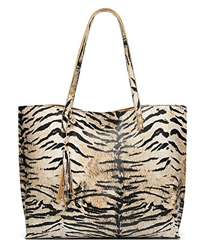 (Women's Fashion Tote Bag,PU Leather Shopping Shoulder Bag Tiger Grain Leopard Handbag)