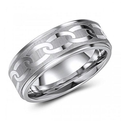 Chain-link Etched Cobalt Ring – Wedding – Fashion – Stylish – Trendy – Fashionable - Hip - Engraving Available - All Sizes in Stock (Etched Wedding Rings)