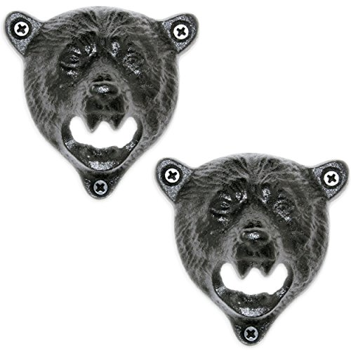 2 Grizzly Bear Wall Mount Beer Bottle Cap Openers | Durable Cast Iron and Black Vintage Finish For Sale