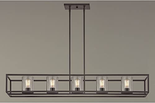 Hanging Industrial Linear Chandelier with Seeded Glass Bronze Finish – 5 Lights