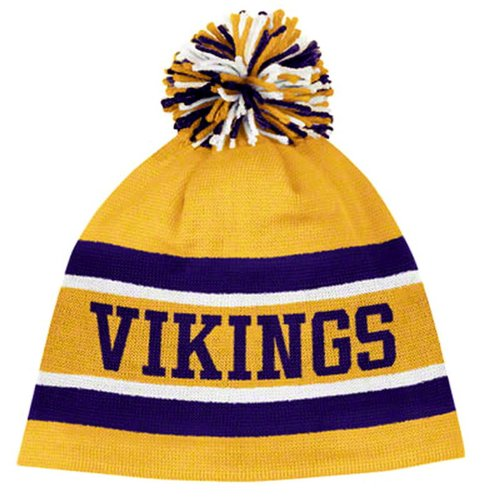 Reebok MINNESOTA VIKINGS Yellow-Purple-White Cuffless Knit Beanie with Pom (Nfl Stocking Hats Vikings)