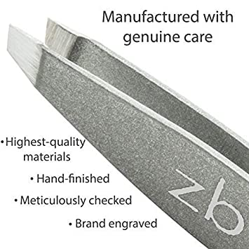 Tweezers - Surgical Grade Stainless Steel - Slant Tip for Expert Eyebrow Shaping and Facial Hair Removal - with Bonus Protective Pouch - Best Tool for Men and Women (Silver)