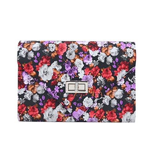 Elegant PU Leather Floral Turnlock Flap Clutch Bag Handbag, Red