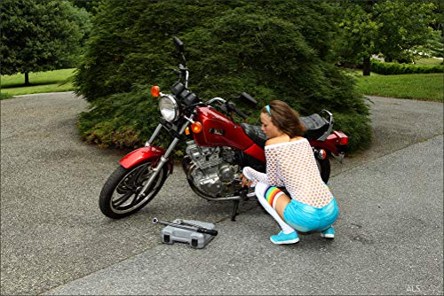 Innerwallz Malena Morgan Brown Haired Human Motorcycles Wall Art, Pop Art, Poster, Art Prints   Rare Posters