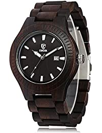 Men Wooden Watch Analog Quartz Movement Date Display Wood Wristwatch ,Ebony Wood