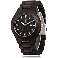 CUCOL Men Wooden Watch Analog Quartz Movement Date Display Wood Wristwatch ,Ebony Wood