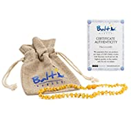 Amber Teething Necklace for Babies (Unisex) (Raw Milky Baroque) - Anti Inflammatory, Drooling & Teething Pain Reduce Properties - Natural Certificated Oval Baltic Jewelry with The Highest Quality