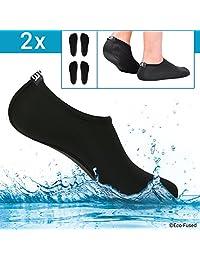 Eco-Fused - Calcetines de Agua para Mujer, Color Negro, 2 Pares, Extra cómodos, Protege contra la Arena, el Agua, los Rayos UV, Calzado de fácil Ajuste para natación