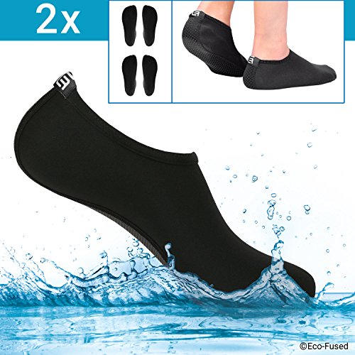 Eco-Fused Water Socks/Shoes for Women - Black - 2 Pair - Extra Comfort - Protects Against Sand, Water, UV - Easy Fit Footwear for Swimming (Black - 2 Pair, (S) -