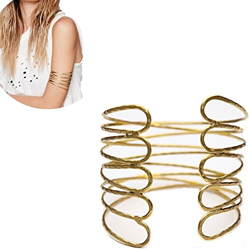 OCTCHOCO Simple Gold Swirl Arm Cuff Fashion Armlet Armband Bangle Bracelet 2.8