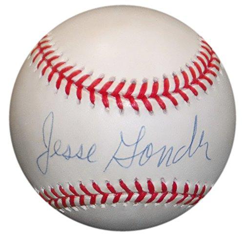 Glove Baseball Ruth Babe Vintage - JESSE GONDER SIGNED VINTAGE BUDIG OAL BASEBALL NY YANKEES METS REDS BRAVES JSA