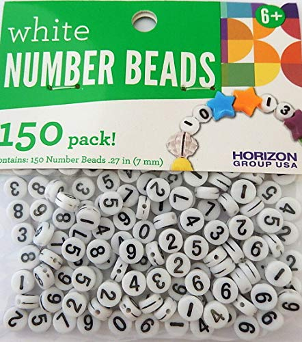 150 White Black Assorted Numbers 0-9 Acrylic Number Flat Round Coin 7mm Beads