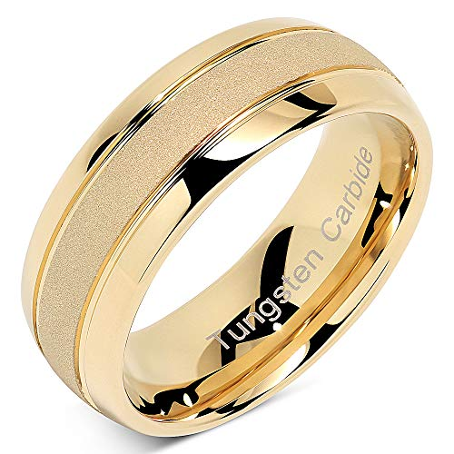100S JEWELRY Tungsten Rings for Men Women Gold Wedding Band Sandblasted Finish Dome Edge Sizes 8-16 (8)