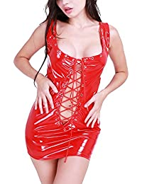 Sexy Women Patent Leather Lace-up Mini Dress Clubwear