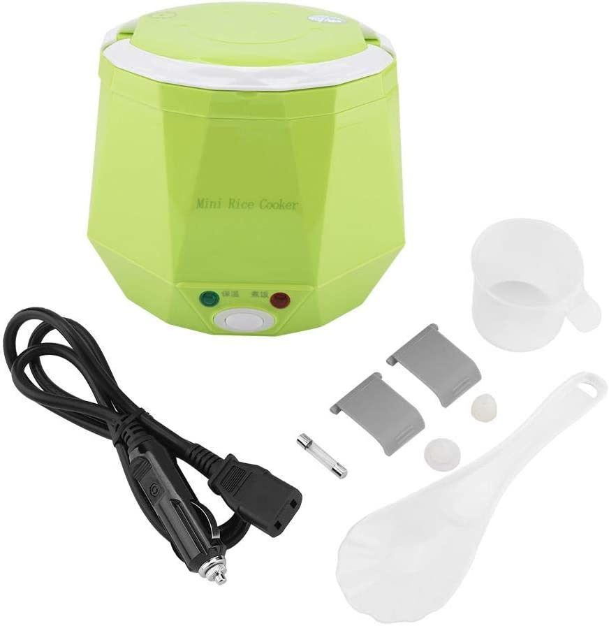 Electric Rice Cooker for Truck, 24V 140W 1.3 L Electric Portable Multifunctional Rice Cooker Food Steamer for Truck, Rice Cooker (Green)