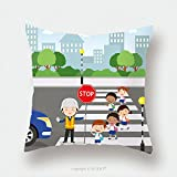 Custom Satin Pillowcase Protector Traffic Guard Helping School Kids Crossing Road By Holding A Stop Sign 491458288 Pillow Case Covers Decorative
