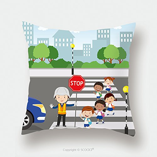 Custom Satin Pillowcase Protector Traffic Guard Helping School Kids Crossing Road By Holding A Stop Sign 491458288 Pillow Case Covers Decorative by chaoran