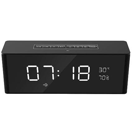 Hswt Reloj Despertador Digital Reloj Digital Bluetooth Altavoz Inalámbrico Tarjeta TF Radio FM Subwoofer Indicador De