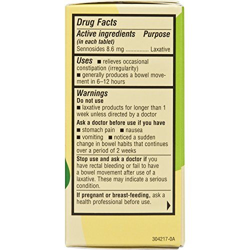 Senokot Regular Strength, 100 Tablets, Natural Vegetable ...