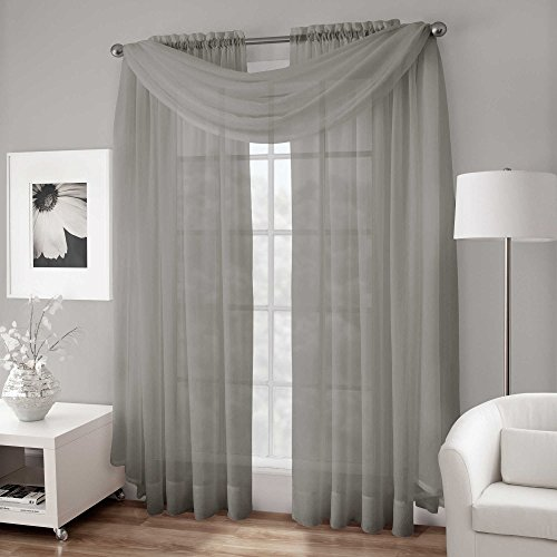 LuxuryDiscounts 2 Piece Solid Elegant Sheer Curtains Fully Stitched Panels Window Treatment Drape (54