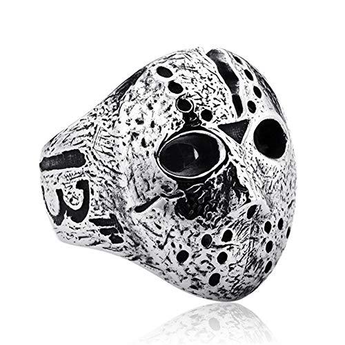 ink2055 Punk Rock Rings for Men Jason Hockey Mask Horror Skull Finger Ring Finger Jewelry Gift - Antique Silver US 7 by ink2055 (Image #4)