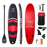 WAVEY BOARD Inflatable Stand Up Paddle Board Bundle, Red & Black Deal