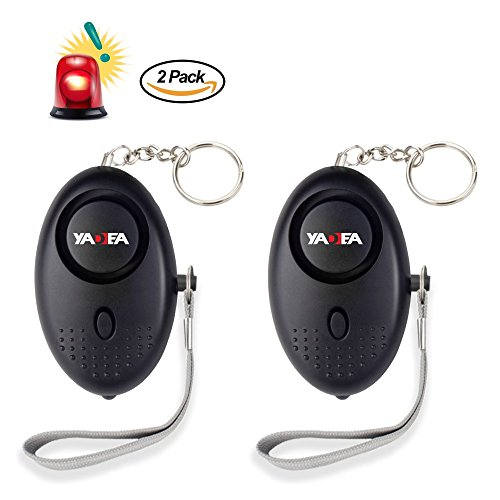 Personal Alarm 130dB Personal Security Alarm Keychain LED Flashlight Portable Safety Alarm for Women Elderly Kids as Bag Decoration(Black 2 Pack)