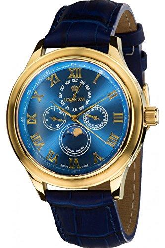 Louis XVI Men's-Watch Élysée le Grand l'or bleu Swiss Made Moonphase Analog Quartz Leather Blue 542