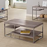Coaster Modern Dark Grey Coffee Table with 2 Shelves, Wood Top and Chrome Frame