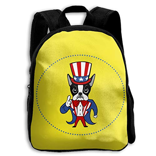 FIDALJF American Boston Terrier Rescue Children's Backpack Little Kid School Bag with Adjustable Shoulders Ergonomic Back Pad Perfect for School, Security, Sporting Events