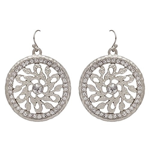 Seraphina New York Faceted Clear Glass Beads Rounded Floral Pattern Centered Circle Drop Fish Hook Women's Earrings (Silver)