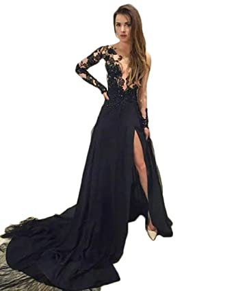 577980214811 Sexy See Through Black Lace Long Sleeves Prom Dresses Side Slit A-Line Formal  Evening Party Ball Gowns 2019 New at Amazon Women's Clothing store: