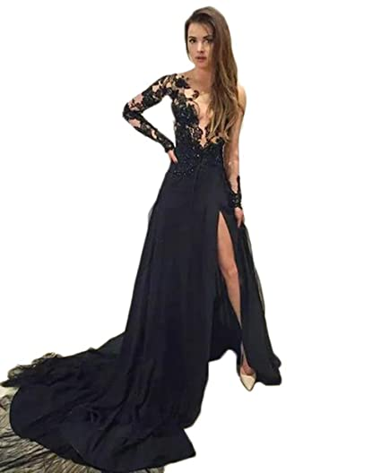 Sexy See Through Black Lace Long Sleeves Prom Dresses Side Slit A