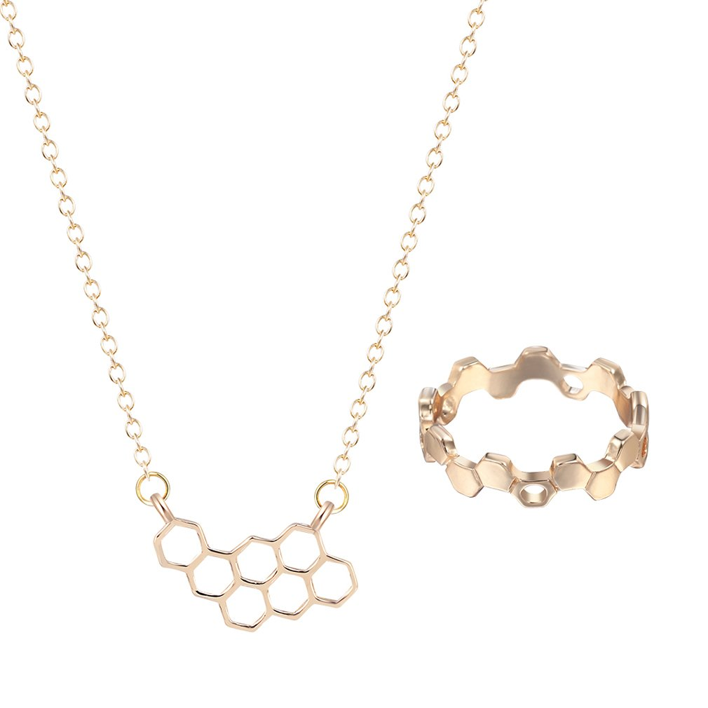 2016 Trendy Jewelry Unique Honeycomb Charm Pendant Necklace Rings Cute Bee Honeycomb Jewelry Set For Girls Women Gold DAYONE JEWELRY LTD 1012QW5PJ3K