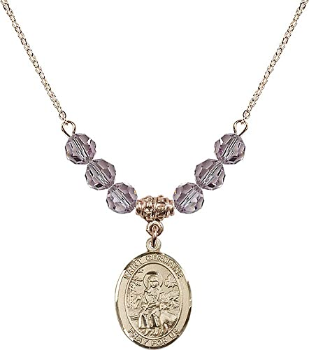 18-Inch Hamilton Gold Plated Necklace with 6mm Light Amethyst Birthstone Beads and Miraculous Charm Purple Light Amethyst June Birthstone
