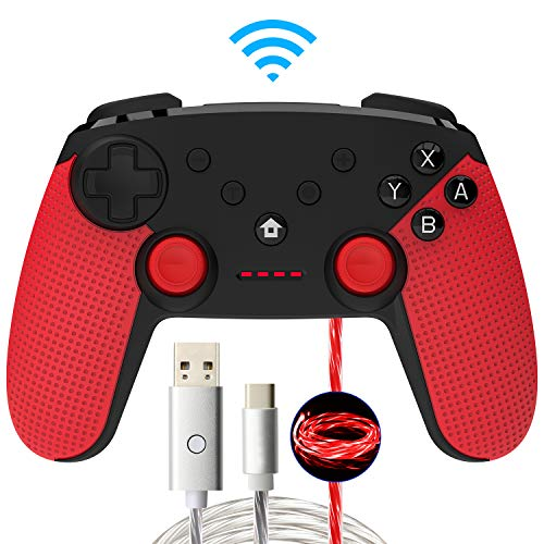 Momen Wireless Controller for Nintendo Switch Pro Controller Gamepads. Wireless Pro Game Remote Built-in Dual Motors(Red)