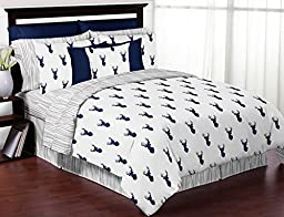 Boys Accent Floor Rug Bedroom Décor for Navy and White Woodland Deer Kids Bedding Collection