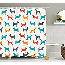Marvelous Dog Lover Decor Shower Curtain Set By Ambesonne, Dog Figures Retro Style,  Bathroom Accessories