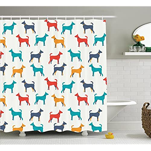 Superieur Dog Lover Decor Shower Curtain Set By Ambesonne, Contemporary Colorful  Illustration Of Dog Figures With Contours In Retro Style, Bathroom  Accessories, ...