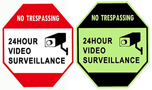 "WISLIFE Security Surveillance Signs - ONE Piece, Glow in The Dark Video Surveillance Sign, Aluminum Security Sign 12"" X 12"" (ONLY 1, Day & Night"