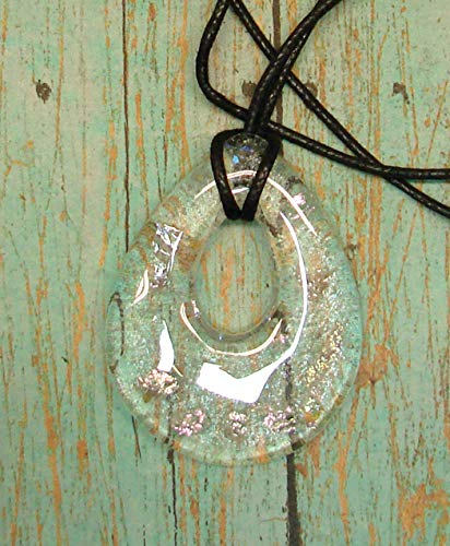 (Handmade Iridescent Clear Dichroic Teardrop Shaped Fused Glass Pendant Necklace)