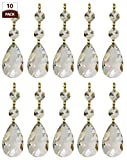 Royal Designs CPC-1001-PB-2-10 Replacement Chandelier Crystal Prism Clear K9 Quality Tear Drop Almond Cut With Polished Brass Connectors And 3 Octogan Crystal Bead Pack Of 10, 3.5″ x 0.5″ x 3.5″