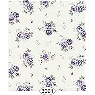 Dollhouse Miniature 1:12 Scale Wallpaper Rose Hill Small Floral Purple: Toys & Games