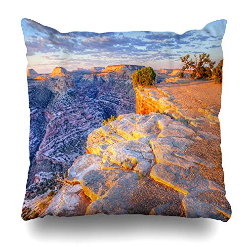 ArTmall Throw Pillow Case Sunrise Green Desert Over Little Grand Canyon Wedge Erosion at Quot Nature Parks Utah San Southwest Zippered Pillowcase Square Size 20 x 20 Inches Home Decor Cushion Covers