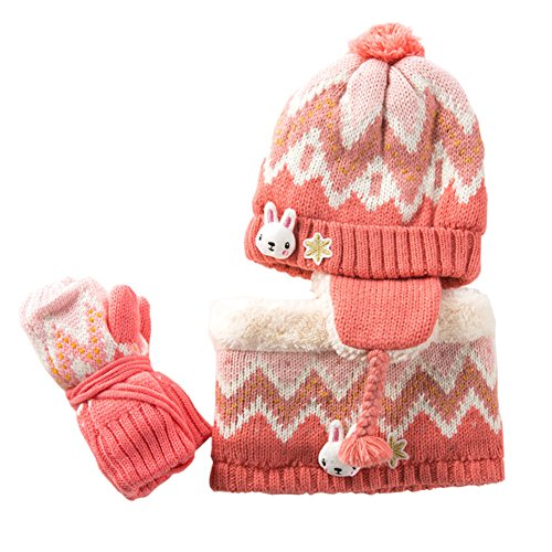 - Baby Hats Baby Mittens Baby Girls Boys Winter Warm Knit Hat+Scarf/Gloves 3 Pieces Set (Pink Wave)