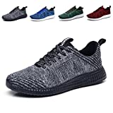 KONHILL Men and women Lightweight Knit Breathable Casual shoes Athletic Tennis Walking Running Shoes,Gray,40